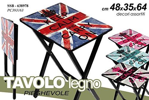 Tavolo tavolino pieghevole richiudibile in legno 48x35x64 cm campeggio casa keep calm GiardiCasa