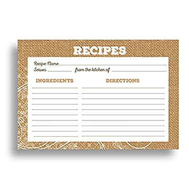 Burlap and Lace Recipe Card Set from Dashleigh, 48 Cards, 4x6 inches, Water-Resistant and High Quality