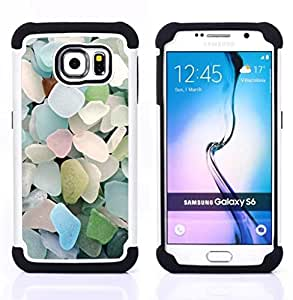 For Samsung Galaxy S6 G9200 - BEACH SUMMER GLASS BLUE PASTEL Dual Layer caso de Shell HUELGA Impacto pata de cabra con im??genes gr??ficas Steam - Funny Shop -