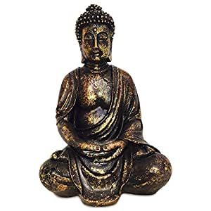 The Big Golden Buddha 15 3/4 Inch Tall Figure of Seated Dhyanasana Buddha Museum Quality Reproduction From the Serenity Collection By Whole House Worlds