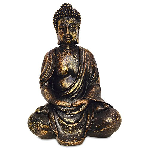 The Big Golden Buddha 15 3/4 Inch Tall Figure of Seated Dhyanasana Buddha Museum Quality Reproduction From the Serenity Collection By Whole House Worlds>