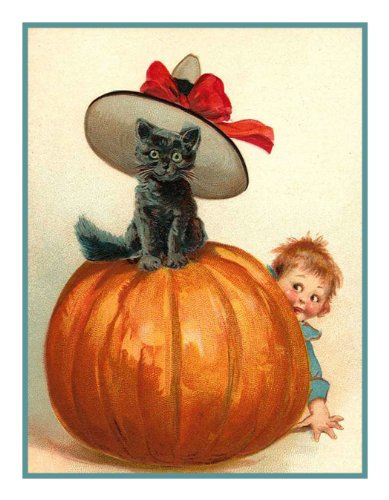 Orenco Originals Black Cat Hat Pumpkin Halloween Counted Cross Stitch Pattern -