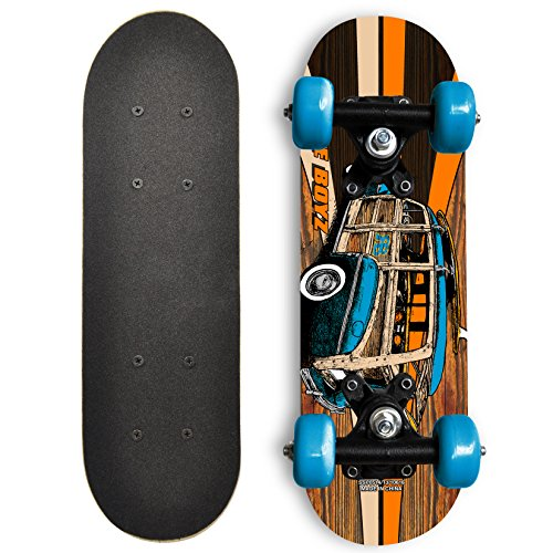 Rude Boyz 17 Inch Mini Wooden Cruiser Graphic Beginner Skateboard (Blue Woody Car)