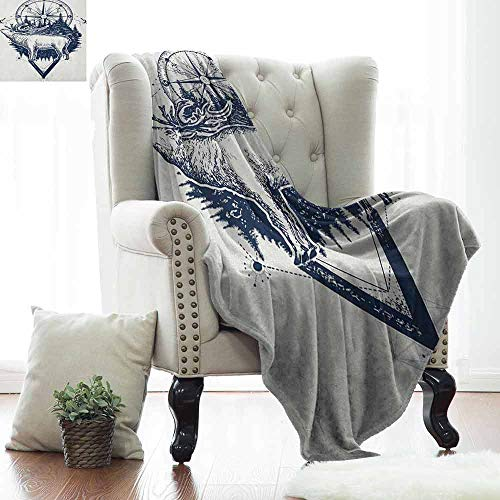 Xaviera Doherty Boys Throw Blanket Adventure,Reindeer and Compass Ethnic Tribal Travel Symbol Wilderness Forest Outdoors,Dark Blue White,All Season Blanket 60