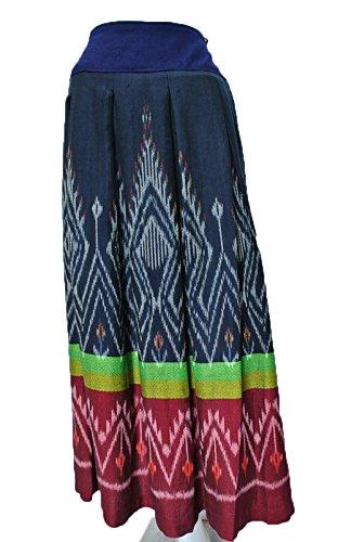 Woven Elastic Skirt Waist (Thai natural Fermented mud cloth Cotton Hand Woven Skirt Elastic Waist free size)