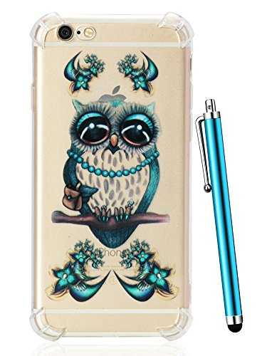 iPhone 6 Case, iPhone 6S Case, CAIYUNL Pattern Design Clear Cover Slim Phone Case Soft TPU Silicone Bumper Protective Shockproof Cute Drop protection iPhone 6S Phone case for iPhone 6S 6&Stylus -Owl