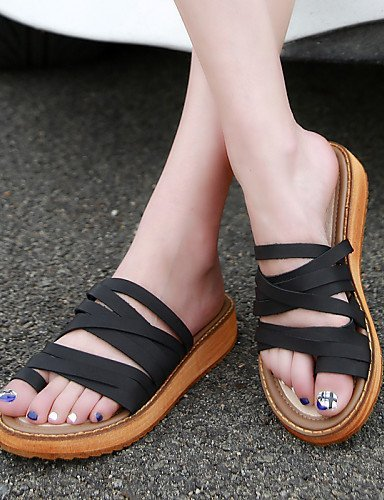 ShangYi Women's Shoes Flat Heel Slingback/Comfort/Open Toe Slippers Casual Black/Brown/White Black q8ZyeXl