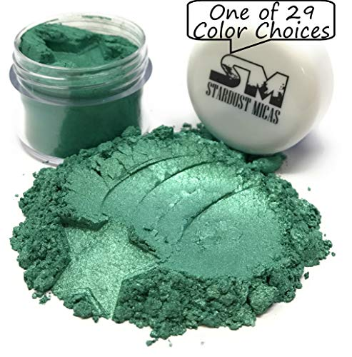 (Stardust Micas Pigment Powder Cosmetic Grade Colorant for Makeup, Soap Making Dyes, Nails, DIY Crafting Projects, Bright True Colors Stable Mica Batch Consistency Green Pine)