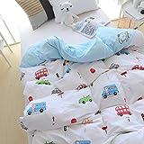 J-pinno Boys Girls Cartoon Cars Muslin Duvet Cover, 100% Cotton, Invisible Zipper Kids Twin Bedding Decoration Gift (Twin 59'' X 78'', Blue)