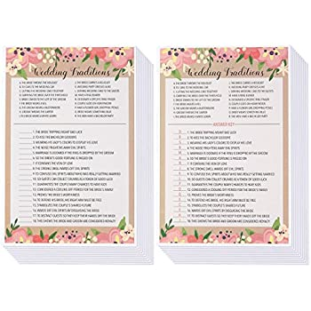 bridal shower games 25 pack wedding card games for bride to be bachelorette ideal for engagement and wedding parties floral pink themed 25 game cards