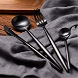 LEKOCH 4-Piece Stainless Steel Flatware Set Including Fork Spoons Knife Tableware (Black)