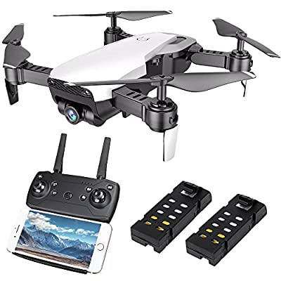 HuiShuTek FPV RC Quadcopter Drone with 720P Wide-Angle HD Camera 4 Channel 2.4GHz 6-Gyro with Altitude Hold Function,Headless Mode and One Key Return Function,Foldable,for Beginner, Bonus Battery by HuiShuTek