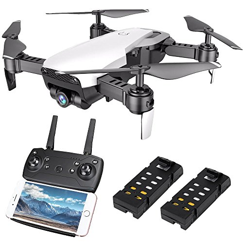 HuiShuTek FPV RC Quadcopter Drone with 720P Wide-Angle HD Camera 4 Channel 2.4GHz 6-Gyro with Altitude Hold Function,Headless Mode and One Key Return Function,Foldable,for Beginner, Bonus Battery