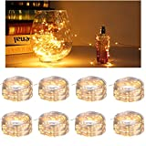 8 Pack Battery Operated Mini Fairy String Lights Sets-20 Warm White LEDs Copper Wire Starry Firefly Moon Lightsperfect for Christmas trees Wedding Party Patio Deckyard Wreath Garland Centerpieces DIY