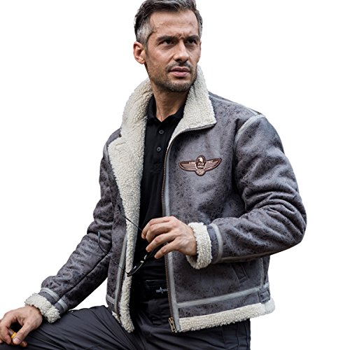 FREE SOLDIER Men Classic Bomber Jacket Autumn Winter Heat-conserving Leather Fur Tactical Pilot Jacket (Gray, Medium) Free Jacket Patterns