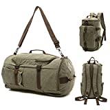 Canvas Travel Duffel Tote Multipurpose Luggage Bag Convertible Backpack Hiking Rucksack Army Green