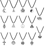iWenSheng 14pcs Black Gothic Stretch Henna Tattoo Choker Collar Charm Pendant Necklace for 80s 90s (14pcs leather pendant necklace)