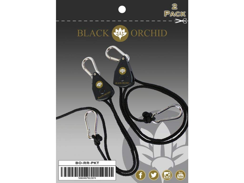 Black Orchid Set of 2 Ratchet Suspension For Ventilation Hydroponics Grow Tent Weight Max. 68 kg VEN-BO-RR-PKT