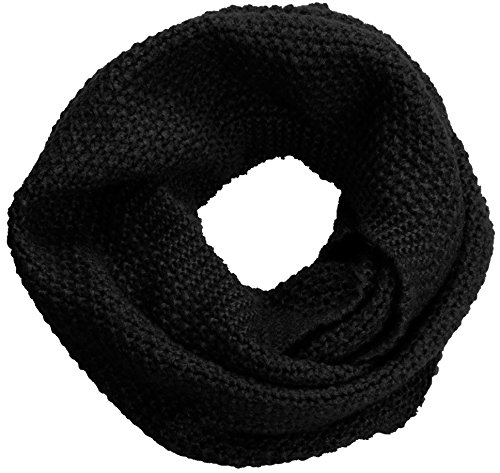 NEOSAN Women Warm Chunky Ribbed Knit Winter Infinity Loop Scarf Cross Black