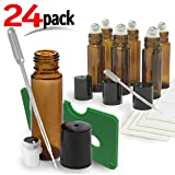 24 Pack Kit , Amber Brown Roller Bottles Set, 10 ml, Roll On Stainless Steel Ball, Includes qty 6- 1ml Droppers, Opener, and Labels. Set for Essential Oils, Perfume, Refillable (24 Pack UV Amber)