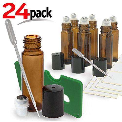 24 Pack Kit , Amber Brown Roller Bottles Set, 10 ml, Roll On