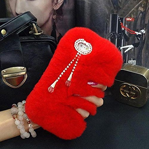 iPhone 7plus Case - LU2000 Beaver Rabbit Furry Case with Double [Pendant Series] Tassels Luxury Fluff Fur Bling Crystals Trim Phone Back Cover for Apple iPhone 7+ / 7 Plus - Red