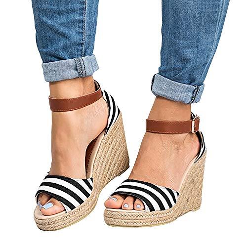 Women's Wedge Platform Espadrilles Ankle Buckle Open Toe Stripes Cutout Summer Sandals ()