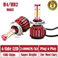 LED Headlight Bulbs H4 / HB2 / 9003 Hi Lo Dual Beam - 4 Sides 240W High Power 24000LM Super Bright 6000K White Headlamp / Fog Light / DRL Replacement Kit - Package of 2