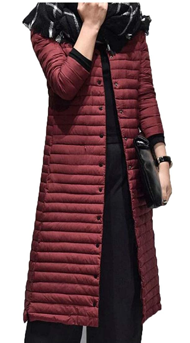 Wine Red omniscient Women Outwear Single Breasted Stand Collar Quilted Down Parka Coat
