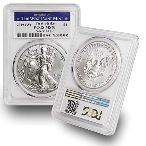2019-(W) American Silver Eagle $1 MS70 PCGS First Strike West Point Label .999 Fine Silver US Mint ()