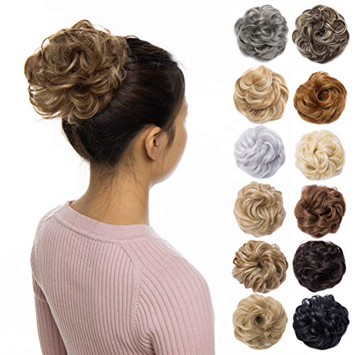 - Scrunchy Updo Wavy Straight Hair Bun Clip Messy Donut Chignons Synthetic Hairpiece Hair Extension (light brown & ash blonde)