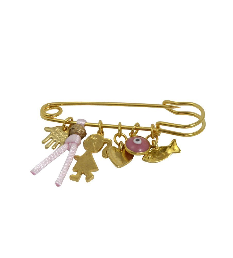 Golden Baby Girl Safety Pin Brooch with Multiple Protection Charms in Pink - For Stroller