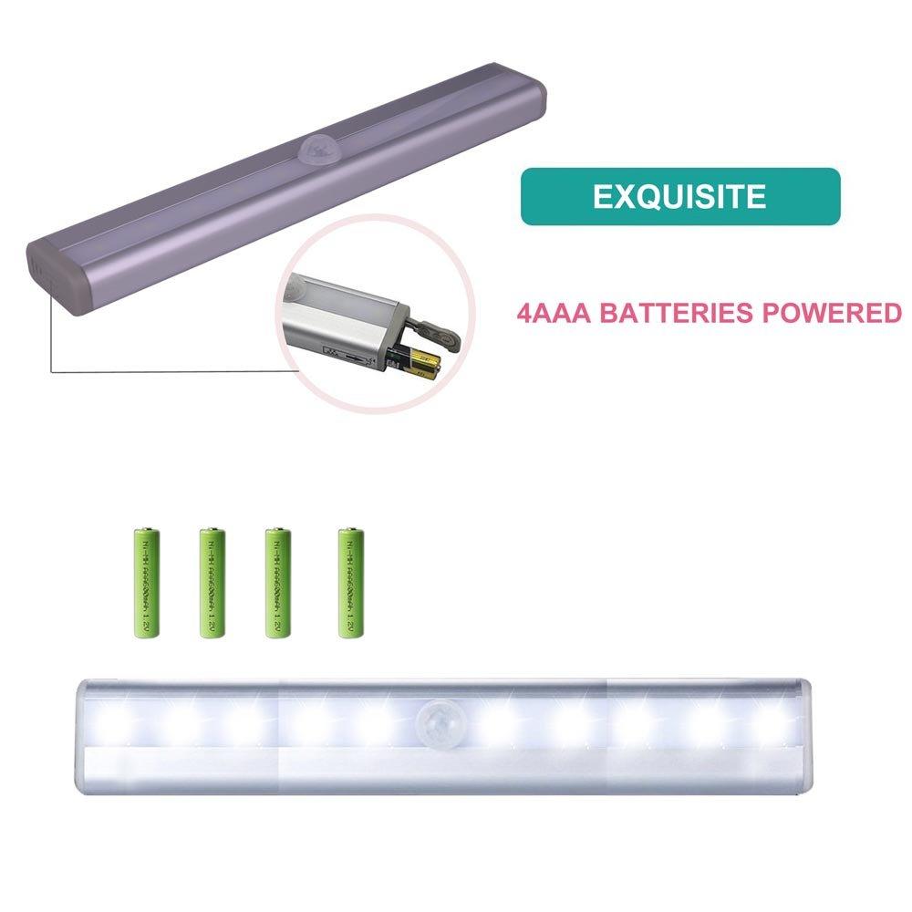 2パッケージBattery Poweredベッド下ライトクローゼットライト10 LEDモーションセンサー夜間ライト壁照明クローゼットキャビネット引き出してステップ階段セキュリティライトベッドライト B07CGHWK2W 13733