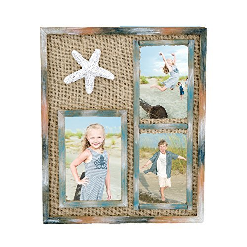 Starfish Frame - Wood Multi Picture Collage Frame with Burlap Starfish Nautical Decor