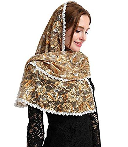 Chapel Catholic Veil lace mantilla for church headwrap V33 (Golden)