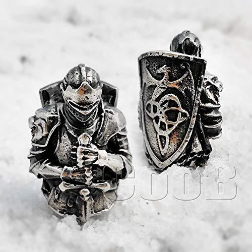 (CooB EDC Paracord Bead Pendant, Charm Zipper Pul. DIY Hand-Casted Amazing Beads Pendants 45 Models for Paracord Bracelet Lanyard Keychain Predator, Darth Vader, Cheshire CAT etc (Knight Dark Souls))