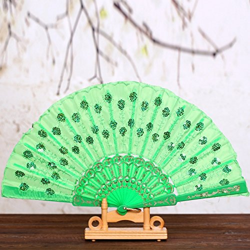 Green Chinese Japanese Women Foldable Folding Hand Fan Party Wedding Dance Accessories