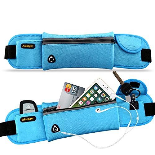 Aidonger Unisex Running Belt Waist Pack Running Pouch Running Gear Bag (Blue)