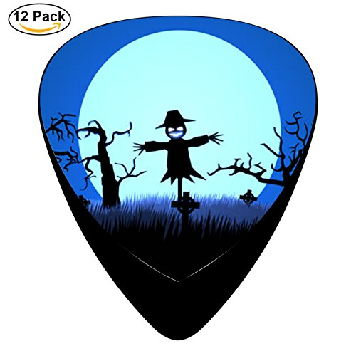 Guitar Picks Celluloid 12 Pack Complete Set Halloween scarecrow Three-Size 0.46mm, 0.71mm and (Halloween Scarecrow Quotes)