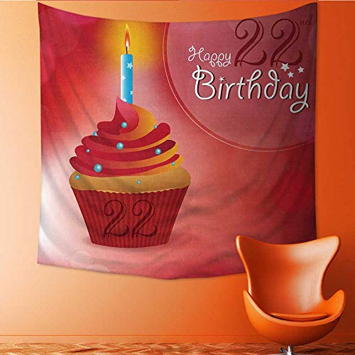UHOO2018 Tapestry Table Cover Bedspread Beach Towel Happy 22nd Birthday Greeting Invitation Message Bokeh with a candleon a Cupcake Dorm Decor 70W x 70L Inch -