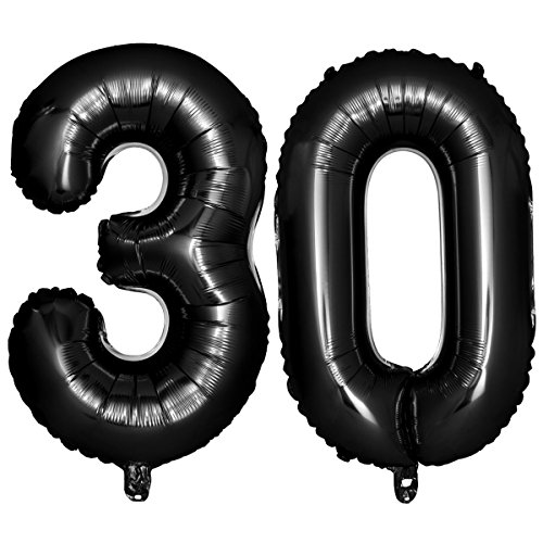NUOLUX 40 Black Number Balloons 30th Jumbo Foil Balloon for Birthday Anniversary Party Decoration
