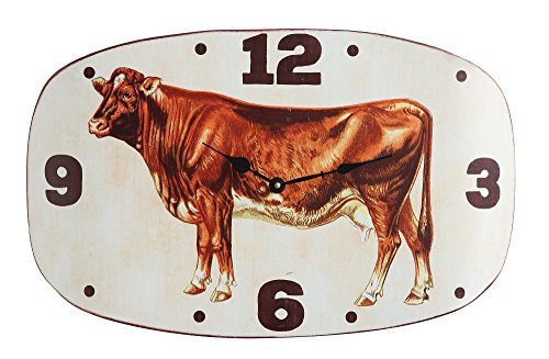Metal Wall Clock with Vintage Cow