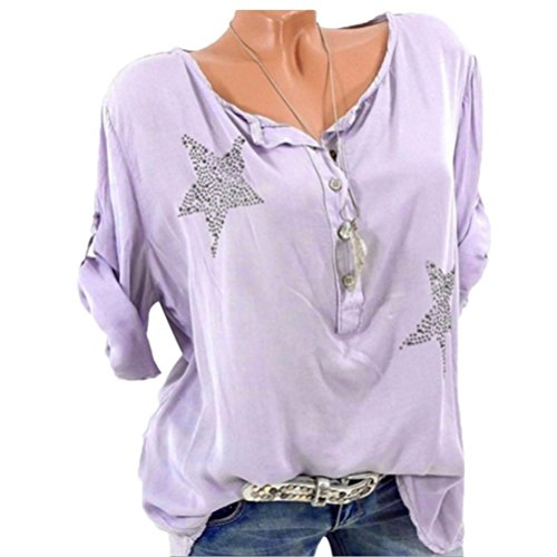 vermers Womens Plus Size Tops Clearance - Women Casual 3/4 Sleeve Button T Shirts Five-pointed Star Hot Drill Blouse(XL, ()