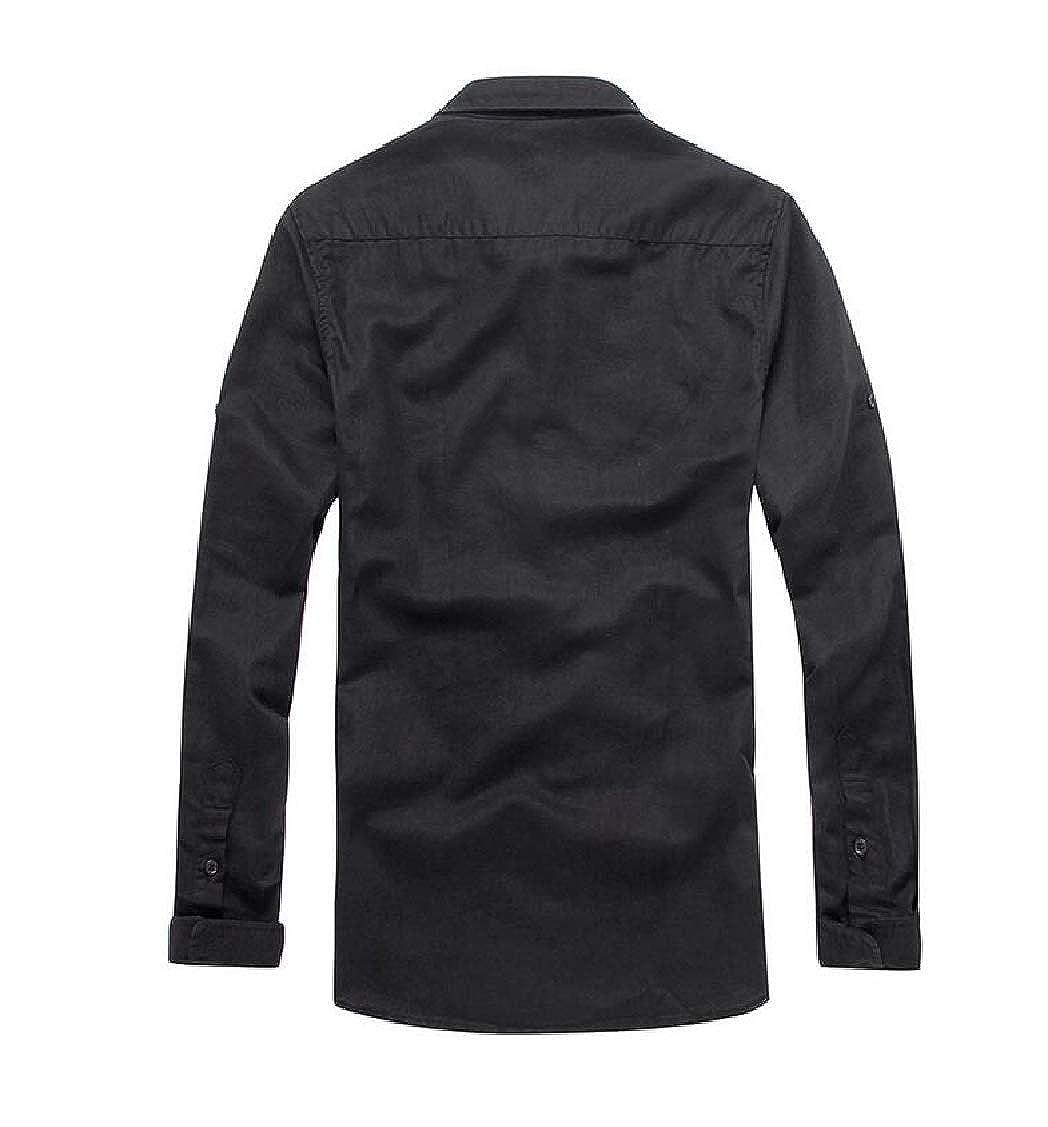 Hajotrawa Mens Long-Sleeve Office Button Down Cotton Slim Shirts