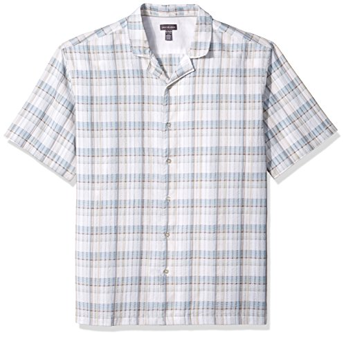 (Van Heusen Men's Air Seersucker Short Sleeve Button Down Poly Rayon Plaid Shirt, Brown Rice, Medium)