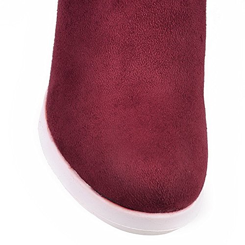 Boots Women's High Claret Imitated High Heels Round top Allhqfashion Toe Suede Solid Closed SYPwWdq