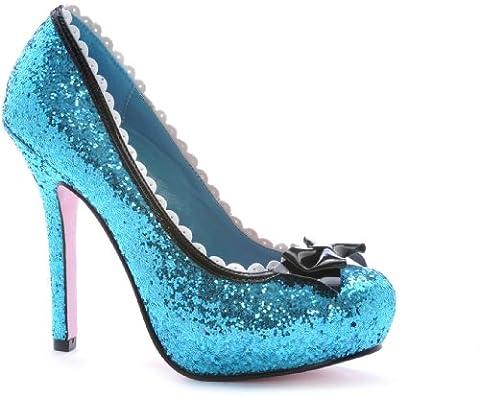 "Leg Avenue Princess 5"" Glitter Pump with Patent Bow & Scallop Trim, Blue, Size 8"