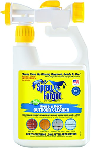 Spray & Forget House & Deck Cleaner with Hose End Sprayer, 32 oz Bottle, 1 Count, Outdoor Cleaner, Mold Remover, Mildew Remover (Spray Forget Cleaner)