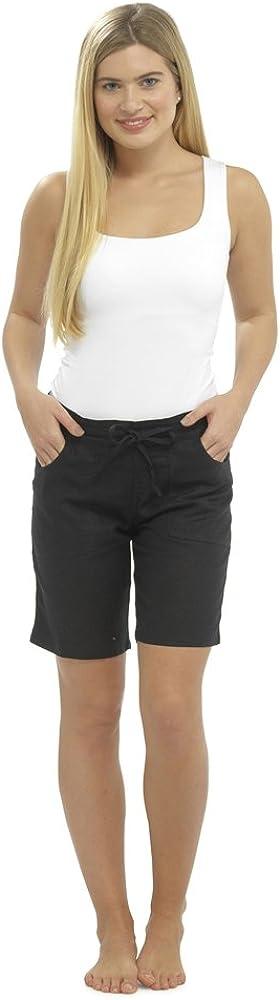 Lin Pantalon D/'été vacances plage Capri Poches Bleu-Beige 38 40 42