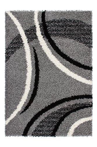 Lalee  347139835  Designer Hochflor Shaggy Teppich / Weich / Muster : Streifen und Wellen / TOP Preis / Silber / Grösse : 120 x 170 cm